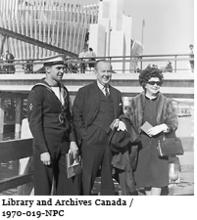 Prime Minister of Canada Lester B. Pearson in front of the France Pavilion at Expo 67
